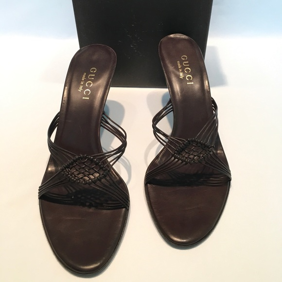Gucci Shoes - Gucci Suola cusio soft leather heel sandals 8B